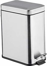WENKO Pedal bin Square, Stainless steel, Silver