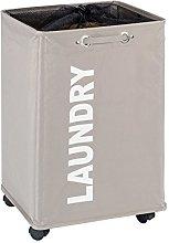 Wenko Quadro Laundry Bin, Fabric, Taupe, 33 x 40 x