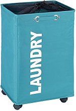 Wenko Quadro Laundry Bin, Polyester, Petrol Blue,