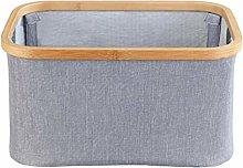 Wenko Storage Basket, Bamboo, Gray, 38 x 26 x 20 cm