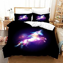 WENYA Galaxy Starry Sky 3D Animals Unicorn Bedding