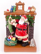 WeRChristmas Santa by Fireplace with Stocking