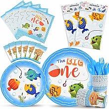 WERNNSAI Gone Fishing Party Tableware Set - Little
