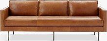 west elm Axel Large 3 Seater Leather Sofa, Saddle
