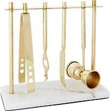 west elm Deco Barware Set, Gold/Marble