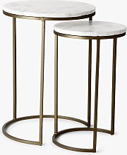 west elm Round Marble Nesting Side Table, White/Burnished Bronze