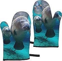 West Indian Manatees Oven Mitts,Glove Fashion