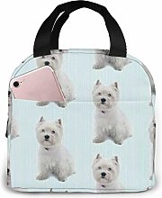 Westie Stripe Insulated Lunch Bag, Big Capacity