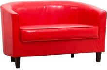 Westwood Faux Leather 2 Seater Tub Sofa, Red