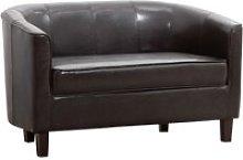 Westwood Leather 2 Seater Tub Sofa, Black