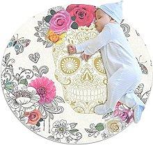 Wetia Area Rug Round Carpet Pink Rose Skull for