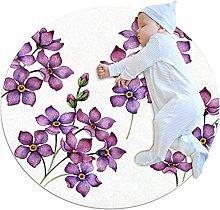 Wetia Area Rug Round Carpet purple flower for