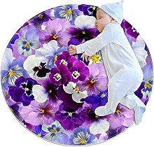 Wetia Area Rug Round Carpet Purple Flowers for