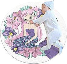 Wetia Area Rug Round Carpet Purple Mermaid for