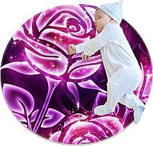 Wetia Area Rug Round Carpet Purple Roses for
