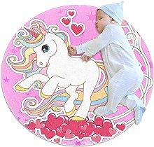 Wetia Pink Unicorn Heart Round area rug for kid