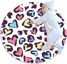 Wetia Round Area Rug with a Suede Surface Heart