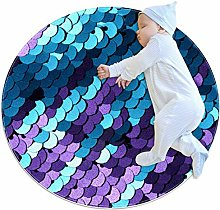 Wetia Scales Purple Blue Round area rug for kid