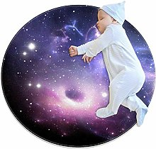 Wetia Space galaxy purple Round area rug for kid