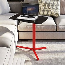WEWE Red computer desk with wheels with black MDF