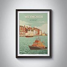 Weymouth Travel tin sign, Seaside Print, Retro