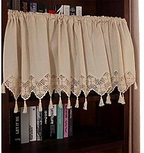 WFENG Crochet Bay Window Fabric Half Curtain,