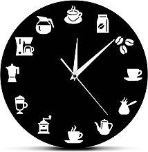 wffmx Coffee Bar Coffee Beans Cup Wall Clock