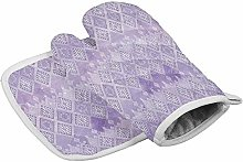 Wfispiy Ethnic 2 Piece Sets Oven Mitts and