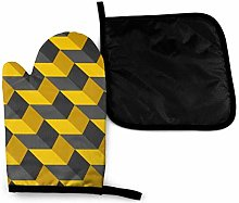 Wfispiy Mitts Black And Yellow Chevron Texture