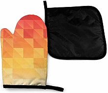 Wfispiy Mitts Triangle Background Red Orange