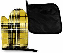 Wfispiy Mitts Yellow Black Scottish Woven Tartan