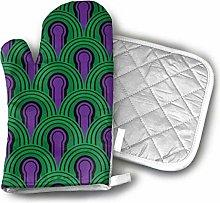Wfispiy Oven Mitt and Pot Holder Set Purple Green