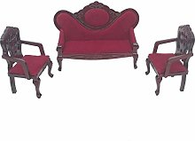 WFZ17 3Pcs/Set 1/12 Doll House Wooden Sofa Chair