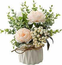 WFZ17 Artificial Rose Flse Flower Bonsai Potted