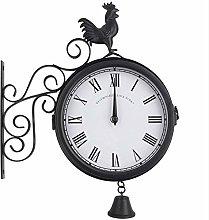 WGFGXQ Vintage Double Sided Wall Clock, Cockerel