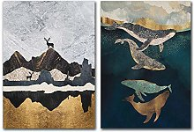 Whale and Elk Wall Art Print Canvas Painting