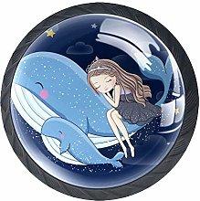 Whale Girl Illustration Crystal Drawer Handles
