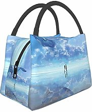 Whale Sky Whale Artwork Insulated Lunch Bag,