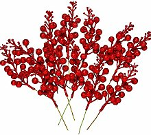 Whaline 12Pcs Christmas Glitter Berries Stems 8.3