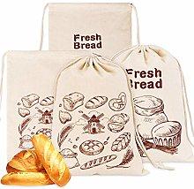 Whaline 4 Pcs Linen Bread Bags Bread Storage Bag