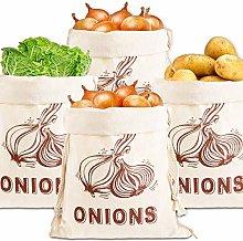 Whaline 4 Pcs Onion Storage Bag Onion Bag Natural