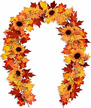 Whaline 6 Ft Fake Fall Maple Leaf Garland with Two