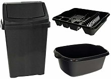 Wham Black Plastic 50Lt Waste Bin Dish Drainer &