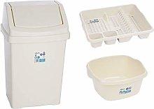 Wham Cream Plastic 50Lt Waste Bin Dish Drainer &