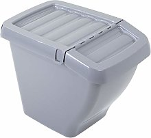 WHAM Recycle It 30L Bin & Hinged Lid Grey Upcycled