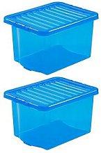 Wham Set Of 2 Blue Crystal Plastic Storage Boxes