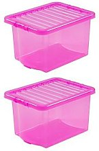 Wham Set Of 2 Pink Crystal  Plastic Storage Boxes