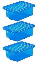 Wham Set Of 3 Blue Plastic Crystal Storage Boxes
