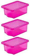 Wham Set Of 3 Pink Plastic Crystal Storage Boxes