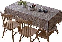 WHDJ Rectangle Tablecloths,cotton Linen Gray Table